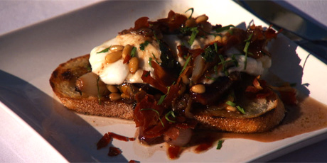 Burrata Crostini with Warm Caramelized Figs, Pine Nuts and Crispy Prosciutto
