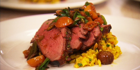 Cherry Cola Lamb with Jeweled Basmati and Charred Onion-Cherry Relish