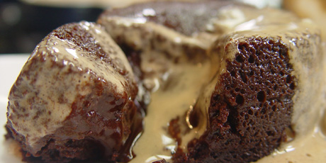 Chocolate Molten Cakes with Coffee Cream