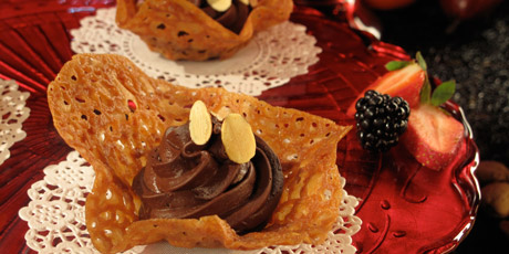 Chocolate and Amaretto Mousse in Almond Lace Bowls