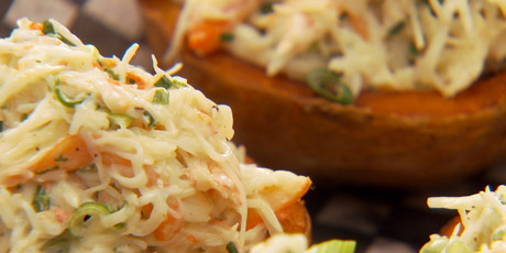 Crab Salad Stuffed Potato Skins and Root Vegetable Mash