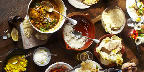 Curry Rogan Josh, Fluffy Rice, Carrot Salad, Poppadoms, Flatbread, Beer