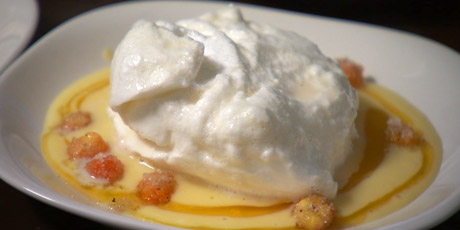 Floating Islands in Bakeapple Creme Anglaise