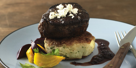Goat Cheese Potato Cake and Tenderloin Steak