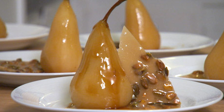 Green Tea Poached Pears With Vanilla Mascarpone and Pistachio Brittle