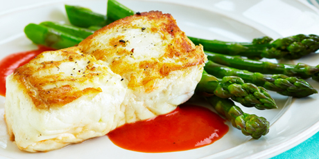 Halibut with Roasted Red Pepper Sauce