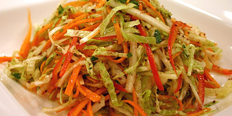 Napa Cabbage Slaw with Lime Honey Dressing