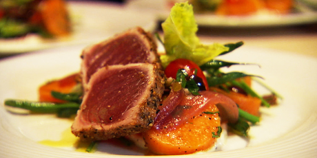 Nicoise Salad with Sweet Potatoes and Ahi Tuna