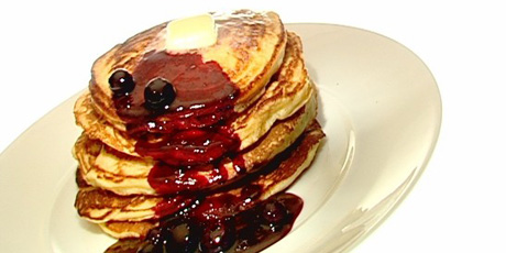Pancakes and Blueberry Sauce