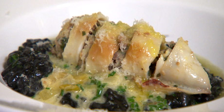 Pancetta & Veal Stuffed Calamari With Squid Ink Risotto