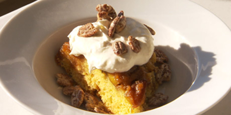 Peach Upside Down Corn Cake with Bourbon Whipped Cream