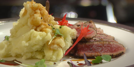 Pepper Crusted Tuna Steak with Teriyaki Sauce and Wasabi Smashed Potatoes