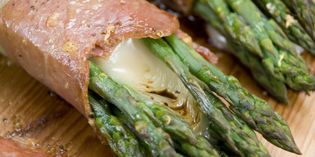 Planked Asparagus Bundles with Cheese & Prosciutto