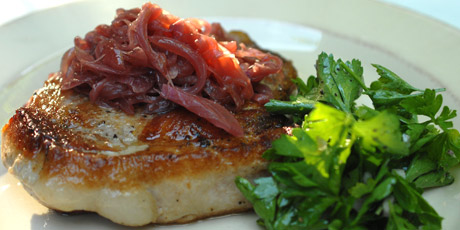 Pork Chop with Red Onion Confit