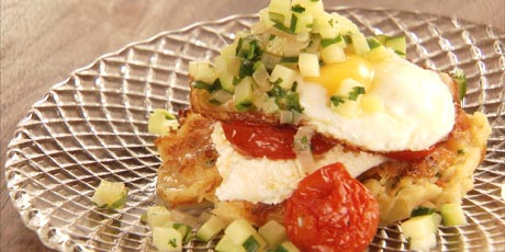 Potato Latkes with Roasted Tomatoes, Zucchinis and Fried Eggs