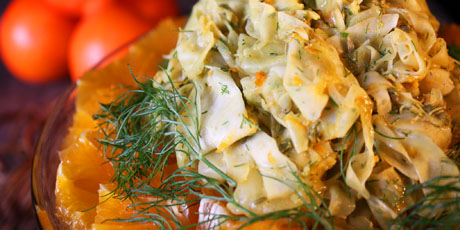 Raw Fennel Salad with Orange Curry Dressing