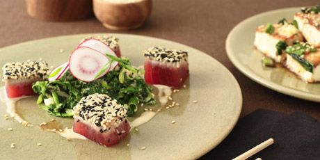 Sesame Crusted Tuna and Seared Tofu in Bonito Soy Sauce with Sesame Gomae Salad