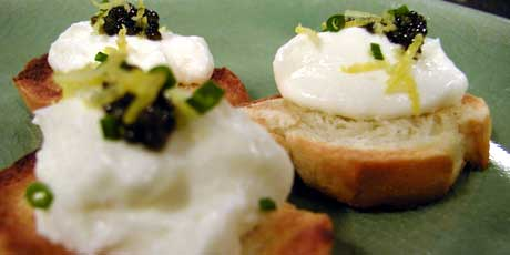 Sourdough Crostini with Creme Fraiche and Caviar
