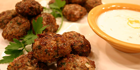 Spicy Lamb Meatballs with Mint Yogurt