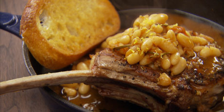 Veal Chops with Stewed Tomatoes and White Beans