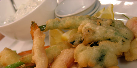 Vegetable Tempura with Lemon Sour Cream Dipping Sauce