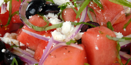 Watermelon Feta And Black Olive Salad